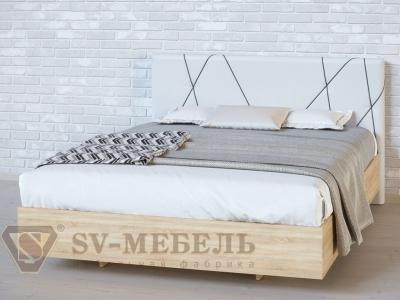 Кровать двойная №1 Абстракция/Дуб Сонома/Сантекс бежевый